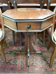Sale 8598 - Lot 1010 - Gothic Style Baltic Pine Octagonal Occasional Table, with single drawer & cross form base