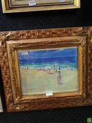 Sale 8645 - Lot 2045 - Donald Fraser - Beach Scene 24 x 38.5cm