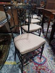 Sale 8693 - Lot 1051 - Set of Four Victorian Ebonised & Gilt Chairs, with spindle back & striped seats