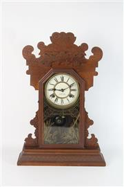 Sale 8747 - Lot 37 - American Walnut Mantle Clock Retailed by Saunders George Street