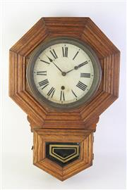 Sale 8815 - Lot 5 - A Sessions Timber Cased Wall Mount Clock ( with Key and Pendulum)