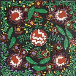 Sale 9188A - Lot 5082 - RACHAEL NAMBULA (C1970 - ) - Bush Tucker 60 x 60 cm (stretched and ready to hang)