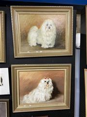 Sale 8888 - Lot 2010 - John Pinto (2 works) Dog Studies, Oil, SLR, both 45x60cm -