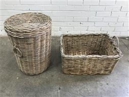 Sale 9102 - Lot 1254 - Two large cane baskets (various size)