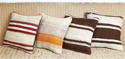 Sale 9123J - Lot 97 - Four throw cushions repurposed from Antique Kilim rugs in red, orange and brown on ivory ground, each with inserts and each approx 4...