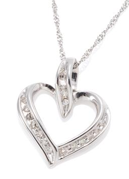 Sale 9168J - Lot 380 - A 9CT WHITE GOLD DIAMOND HEART PENDANT NECKLACE; open frame and bail channel set with 17 single cut diamonds, size 18 x 15mm, on a P...