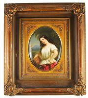 Sale 8057 - Lot 14 - Continental Painted Ceramic Tile Painted with a Young Female Fruit Picker