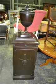 Sale 8093 - Lot 1493 - Pair of Single Door Cabinets with Cutlery Urns to Top (key in office)