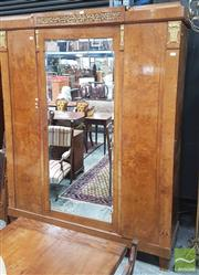 Sale 8390 - Lot 1012 - Fine Art Deco Burr Walnut Armoire, with gilt metal mounts & fine marquetry, having a central mirror panel door & two veneered doors