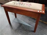 Sale 8745 - Lot 1087A - Timber Piano Stool with Floral Tapestry Lift Seat