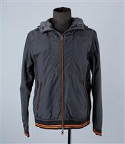 Sale 8770F - Lot 39 - An Emporio Armani charcoal windbreaker with hood and orange stripes to sleeves, size XL