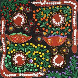 Sale 9188A - Lot 5083 - RACHAEL NAMBULA (C1970 - ) - Bush Tucker 60 x 60 cm (stretched and ready to hang)