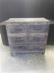 Sale 8951 - Lot 1088 - Black Timber Industrial Six Drawer Chest (H:90 x W:90 x D:45cm)