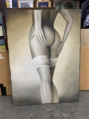 Sale 9008 - Lot 2071 - Delang Nude, acrylic on canvas, 119 x 90 cm, signed lower left