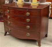 Sale 9060H - Lot 32 - A late Georgian bow front chest of mahogany four long  drawers and brushing slide over outwept feet. Height 86 x width 108 x depth 65cm