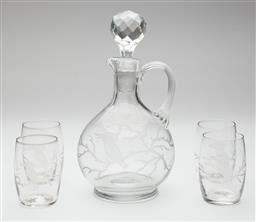 Sale 9123J - Lot 220 - An antique crystal decanter, C: 1900, hand cut and etched with a kookaburra on a branch to the front and a dragonfly to the back, th...