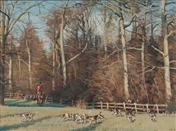 Sale 9141A - Lot 5084 - NEIL CAWTHORNE Hunting Scene, 1983 oil on canvas on board 44 x 59 cm (frame: 63 x 78 x 4 cm) signed lower right