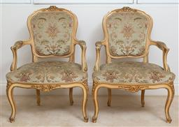 Sale 9140H - Lot 1 - A pair of cream and gilt painted Louis XV style upholstered arm chairs, Height of back 89cm