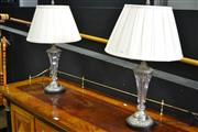 Sale 8087 - Lot 1004 - Pair of Glass Based Table Lamps
