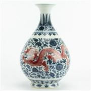 Sale 8258 - Lot 84 - Yung Cheng Mark Blue Glaze Vase with Enamel Detail