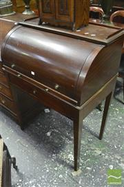 Sale 8359 - Lot 1083 - Sheraton Style Cylinder Top Bureau, with pigeon-holes, pull-out slide, long drawer & tapering legs