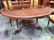 Sale 8485 - Lot 1045 - Early Victorian Mahogany Supper Table, the round cross-banded tilt-top on elaborate turned carved pedestal (H 71cm x D 131cm)