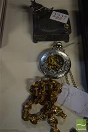 Sale 8530 - Lot 2227 - Pocket Watch & Chain, Link Necklace & Stud Box