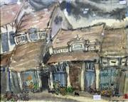 Sale 8563T - Lot 2055 - Chinese School- Street Scene, watercolour and ink, 40 x 49cm, signed lower right