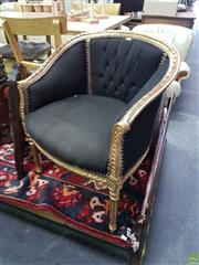 Sale 8601 - Lot 1057 - Pair of Gilt Framed Armchairs with Button Back Upholstery