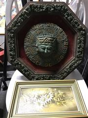 Sale 8674 - Lot 2089 - Collection of Works incl 2 Stodulka Works Bottle Brush & Flannel Flower, Mounted Aztec Plaque, Mirror, Indian Leaf Paintings & P...