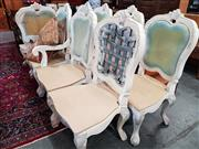 Sale 8740 - Lot 1134 - Good Set of 8 French Style Hand Painted Chairs inc 2 Carvers