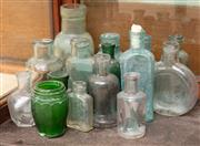 Sale 8795A - Lot 68 - A collection of old glass medicine bottles, tallest approx 14cm