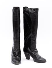 Sale 8800F - Lot 30 - A pair of Italian made, black leather knee-high boots, size 38.5
