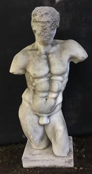 Sale 8857H - Lot 51 - An Early Large Carved Marble Male Torso Statue, General Wear , Some Chipping , Natural Stone Crack Line ,Consists of 2 Parts( Base A...