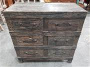 Sale 8996 - Lot 1100 - Black Washed Timber Industrial Chest of Six Drawers (H:90 x W:90 x D:45cm)