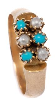 Sale 8999 - Lot 367 - AN ANTIQUE 15CT GOLD STONE SET RING; claw set with turquoise and faux pearls to half round shank with makers mark A&H, size O1/2, to...