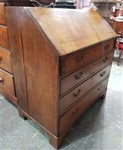 Sale 8993 - Lot 1055 - Late Georgian Oak Bureau, with fitted interior, four drawers & bracket feet (lacking small area of veneer HANDLES, KEY, PARTS IN OFF...