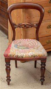Sale 9060H - Lot 33 - A Victorian balloon back dining chair with peacock tapestry seat over turned front legs. Height of back 87cm
