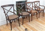 Sale 9070H - Lot 41 - A set of four bentwood cross back chairs, Height of back 89cm
