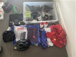 Sale 9150H - Lot 122 - A collection of cycling gear and equipments including examples from tour de bure, pedals, seats, etc