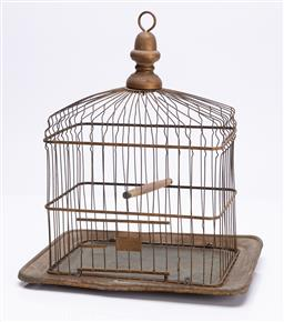 Sale 9185E - Lot 56 - A vintage bird cage, marked Hendryx to base, Height 36cm