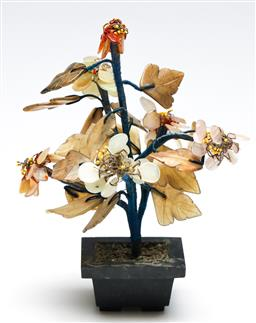 Sale 9253 - Lot 53 - A carved agate and quartz Chinese tree (H:20cm)
