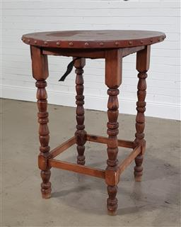Sale 9255 - Lot 1236 - Timber pub table with leather top (h:107 x d:86cm)