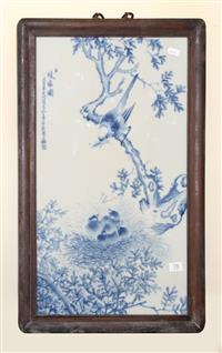 Sale 8171A - Lot 78 - A Chinese blue and white framed panel, with bird and floral design, signed, H 60cm, W 38cm