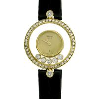 Sale 8221A - Lot 100 - 18ct Gold Chopard Happy Diamond Ladies Wristwatch; featuring round brilliant cut diamonds set in leather band