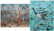 Sale 8483 - Lot 2061 - Essie Nangle (1915 - 2006) (2 works) - Bark Shredding (Sclorophyll Forest, Blue Mountains); Canada Geese 60 x 75cm; 75 x 60cm