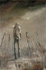 Sale 8475 - Lot 550 - Patrick Shirvington (1952 - ) - Stockman in the Mist 89 x 59cm