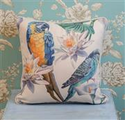 Sale 8500A - Lot 53 - A decorative Parrot print 100% Linen Cushion - Condition: As New - Size: 45cm