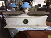 Sale 8649R - Lot 25 - White Marble Countertop Scales with Brass Weight Indicator (23 x 67 x 30cm)