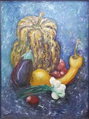 Sale 8645 - Lot 2051 - Suzanne G - Still Life with Gourd, Acrylic on canvas SLL  121 x 90 cm